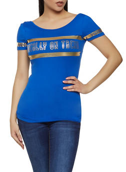 Totally On Trend Foil Graphic Tee - 0305038349413