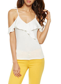 Ruffled Cold Shoulder Top - 0305054260583