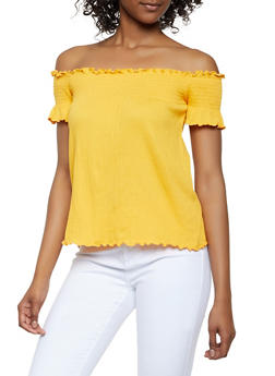 Smocked Detail Off the Shoulder Top - 0305054260963