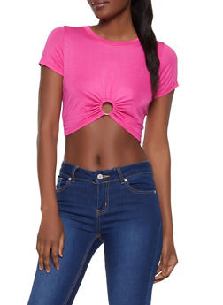 Cinched O Ring Cropped Tee - 0305058753698