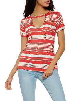 Laser Cut Striped Tee - 0305058757509