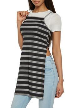 Layered Rib Knit Tunic Top - 0305058757801