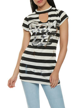 Boys Lie Graphic Distressed Tunic Top - 0305058759290