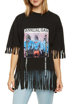 Graphic Patch Fringe Tee - 0305074291102