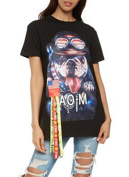 Dog Graphic Ribbon Detail Tunic Top - 0305074291110