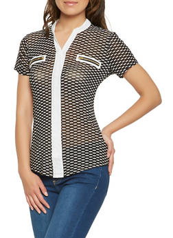 Printed Mesh Zipper Detail Top - 0305074291123