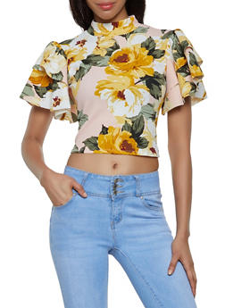 Tiered Sleeve Floral Top - 0305074293025