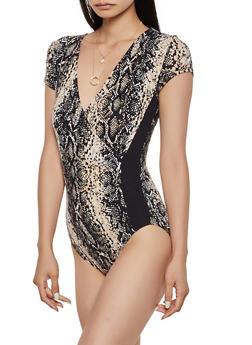 Snake Print Faux Wrap Bodysuit - 0307015990290