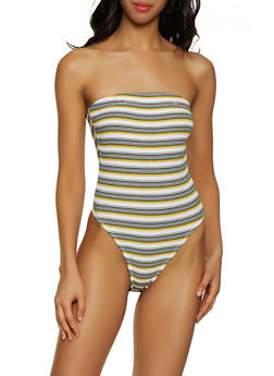 Striped Halter Neck Bodysuit - 0307015990796