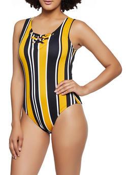 Striped Lace Up Tank Bodysuit - 0307038349302