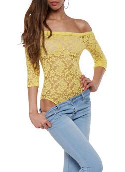 Off the Shoulder Lace Bodysuit - 0307054269933