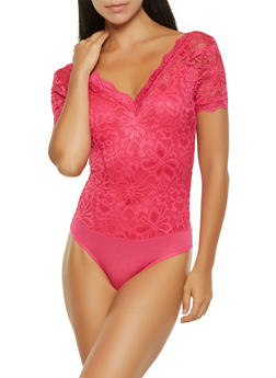 V Neck Lace Bodysuit - 0307054269991