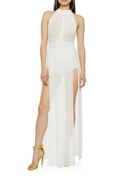 Mesh Split Side Maxi Dress - 0307074291131