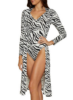 Zebra Print Duster with Attached Bodysuit - 0307074293012