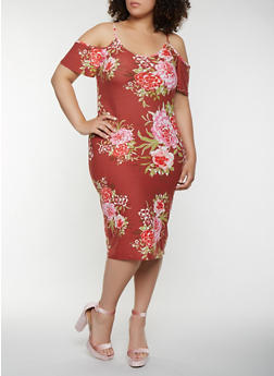 Plus Size Floral Cold Shoulder Midi Dress - 0390015050394