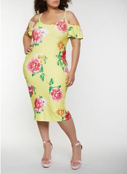 Plus Size Floral Cold Shoulder Midi Dress - 0390015050394