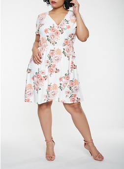 Plus Size Floral Faux Wrap Dress - 0390015050442