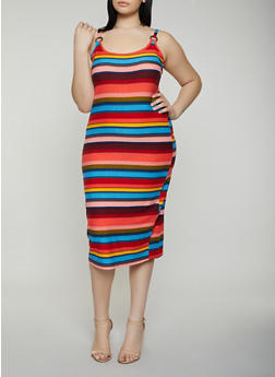 Plus Size Printed O Ring Cami Dress - RED - 0390015050687