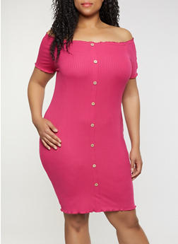 Plus Size Off the Shoulder Ribbed Soft Knit Dress - 0390015050729