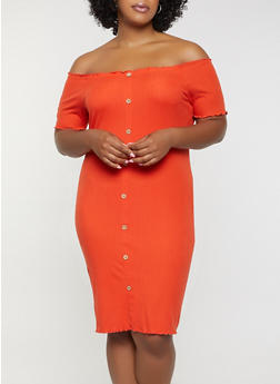 Plus Size Off the Shoulder Ribbed Soft Knit Dress - 0390015050729