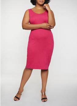 Plus Size Ribbed Soft Knit Tank Dress - 0390015050730