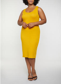 Plus Size Ribbed Soft Knit Tank Dress - 0390015050730