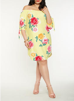 Plus Size Off the Shoulder Floral Dress - 0390015052560