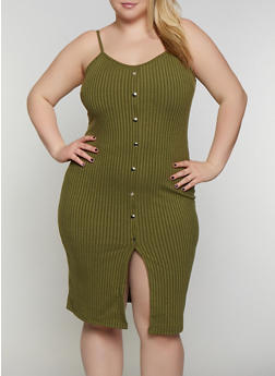 Plus Size Rib Knit Button Cami Dress - 0390034280559