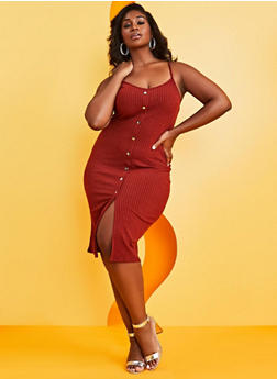 Plus Size Rib Knit Button Cami Dress - 0390034280559
