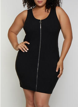 Plus Size Zip Front Rib Knit Dress - 0390034280560