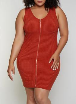Plus Size Zip Front Rib Knit Dress - 0390034280560