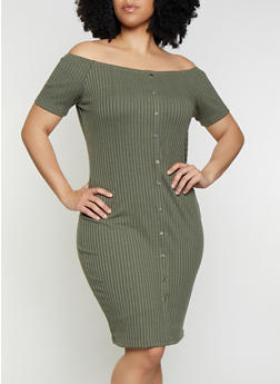 Plus Size Off the Shoulder Ribbed Knit Dress - 0390034284741