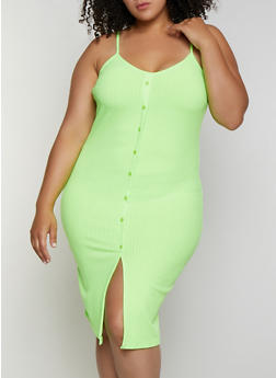 Plus Size Button Detail Rib Knit Cami Dress - 0390034286260