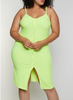 Plus Size Button Detail Rib Knit Cami Dress - 0390034286260