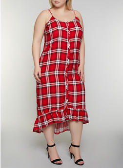 Plus Size Plaid Ruffle Dress - 0390038340702