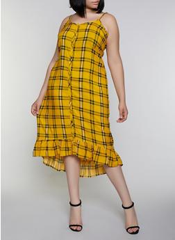 Plus Size Plaid Ruffle Dress - 0390038340702
