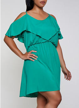 Plus Size Cold Shoulder Skater Dress - 0390038340713