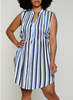 Plus Size Sleeveless Striped Button Front Dress - 0390038340714