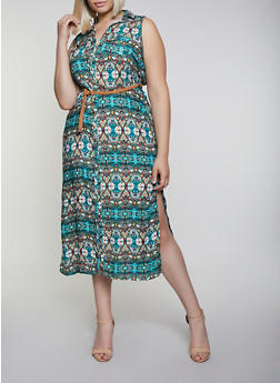 Plus Size Printed Belted Shirt Maxi Dress - 0390038340715