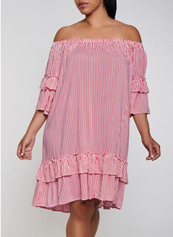 Plus Size Striped Ruffle Off the Shoulder Dress - 0390038340716