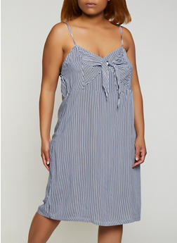 Plus Size Tie Front Striped Cami Dress - 0390038340717