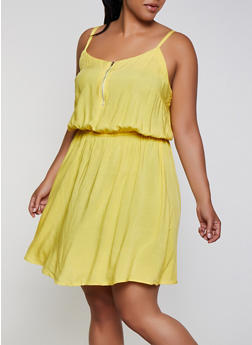 Plus Size Zip Neck Cami Skater Dress - 0390038340718