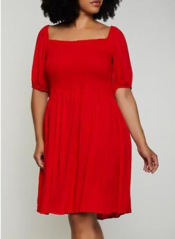Plus Size Smocked Square Neck Dress - 0390038340719