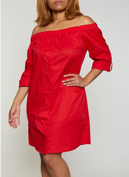 Plus Size Tabbed Sleeve Off the Shoulder Dress - 0390038340730