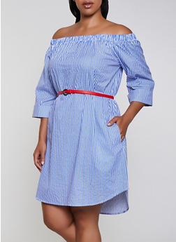 Plus Size Striped Belted Off the Shoulder Dress - 0390038340731