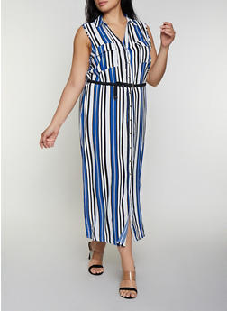 Plus Size Striped Maxi Shirt Dress - 0390038341715