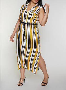 Plus Size Striped Maxi Shirt Dress - 0390038341715