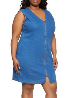 Plus Size Zip Front V Neck Denim Dress - 0390038342718