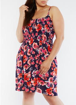 Plus Size Floral Skater Dress with Smocked Detail - 0390038345717