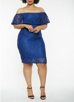 Plus Size Off the Shoulder Lace Dress - 0390038347756